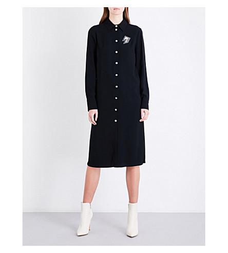 VERSUS VERSACE Patch-appliqué cutout loose-fit crepe shirt dress (Black
