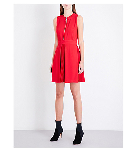 VERSUS VERSACE Zip-detail sleeveless fit-and-flare crepe mini dress (Rosso