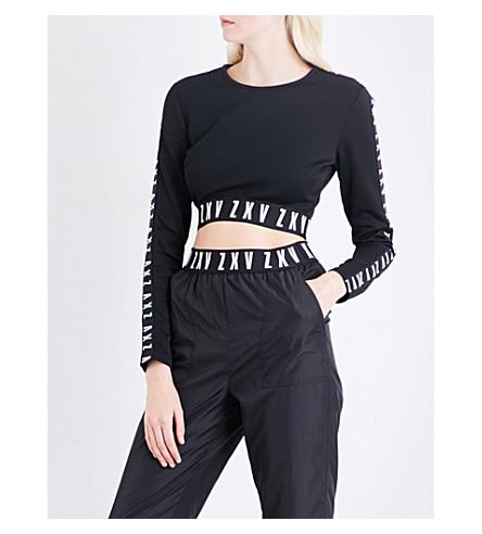 VERSUS VERSACE Versus x Zayn ZXV-print cropped jersey top (Black
