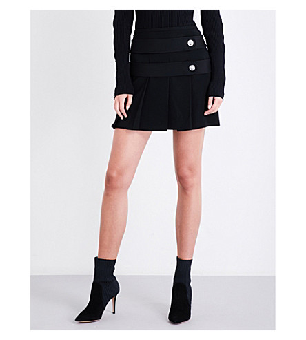VERSUS VERSACE Button-detail pleated high-rise crepe skirt (Black