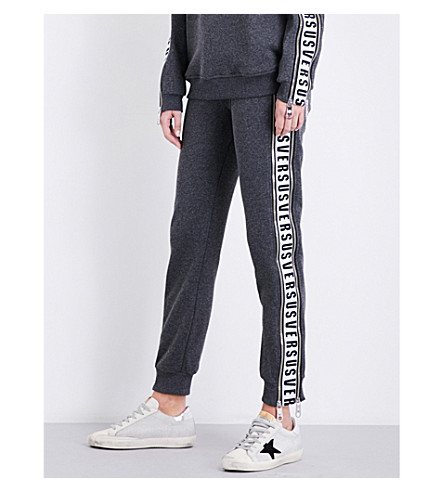 VERSUS VERSACE Logo-tape relaxed-fit mid-rise jersey jogging bottoms (Grigio