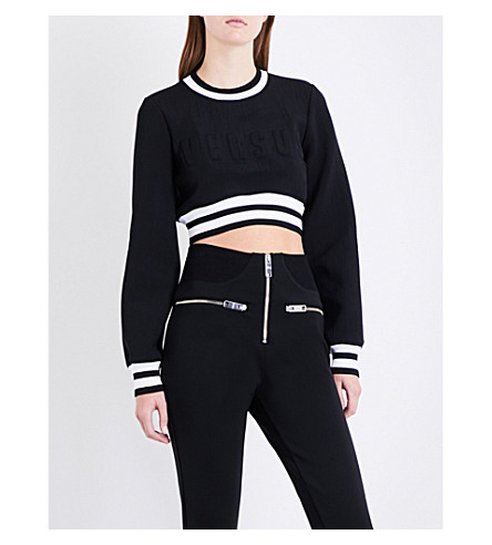 VERSUS VERSACE Logo-embossed cropped neoprene sweatshirt (Black+white
