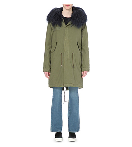 MR & MRS ITALY Shearling and cotton-twill parka coat (Night+blue