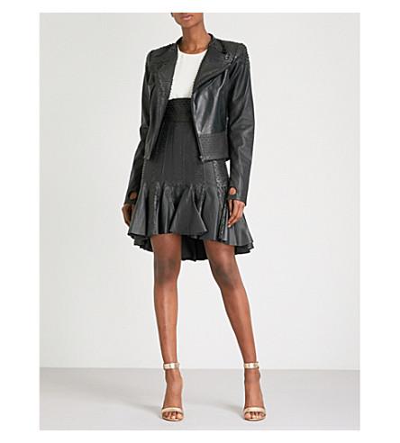 MORV Sienna flared-hem leather skirt (Black