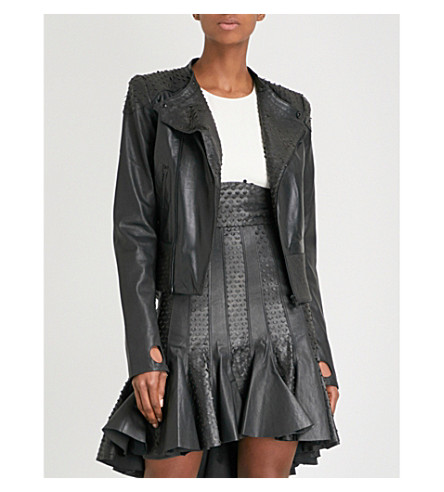 MORV Morvari laser-cut leather jacket (Black