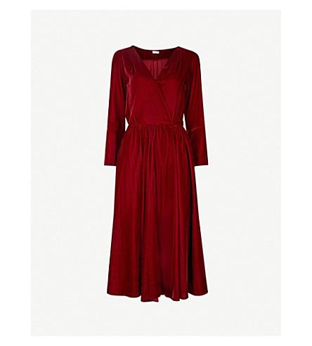 MORV Wrap-front velvet dress (Burgundy