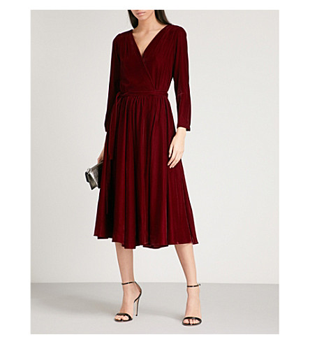 MORV Wrap-front velvet dress (Burgundy