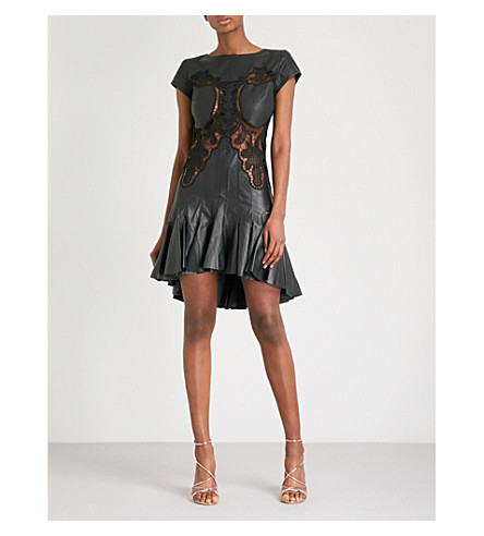 MORV Debbie leather and lace dress (Black