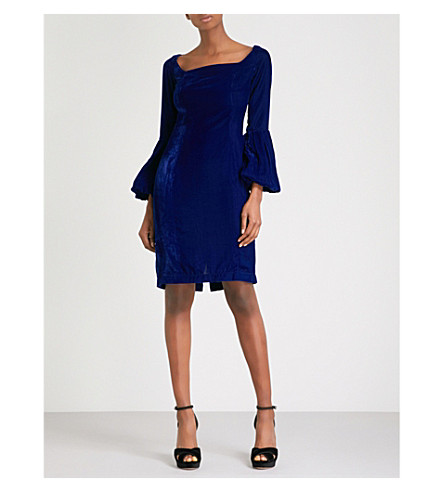MORV Bell-sleeve velvet dress (Blue