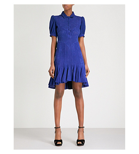 MORV Mia balloon-sleeve suede dress (Blue