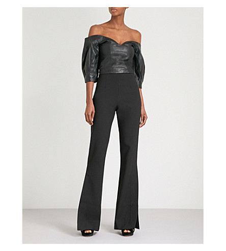 MORV Evita off-the-shoulder leather cropped top (Black