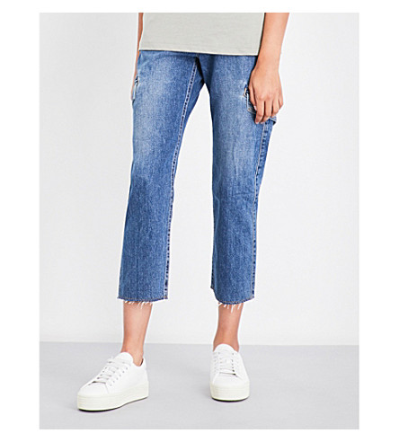 VINCE Cargo cropped high-rise jeans (Med+indigo+wash