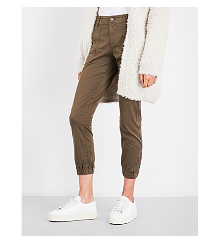 VINCE Cropped stretch-cotton trousers (Dark+willow+wash