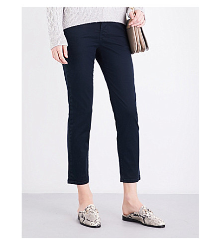 VINCE Mid-rise skinny cotton-twill trousers (Coastal+wash