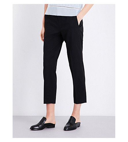 VINCE High-rise tapered stretch-wool trousers (Black