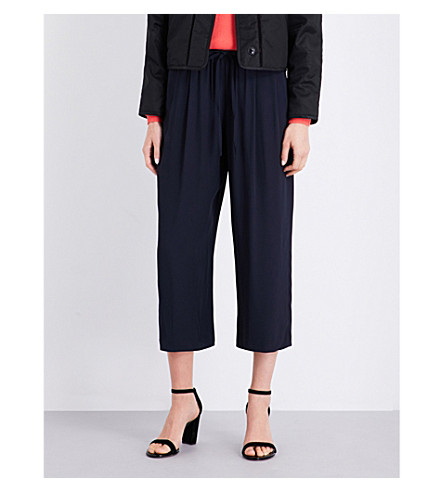 VINCE High-rise wide crepe trousers (Coastal+blue