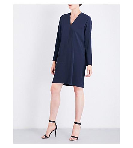 VINCE V-neck crepe tunic dress (Coastal+blue