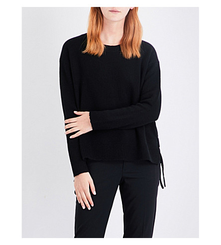 VINCE Lace-up cashmere jumper (Black