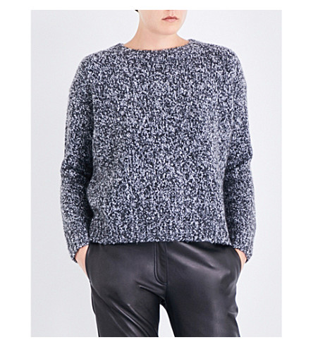 VINCE Chunky-knit wool and cashmere-blend jumper (Black+multi