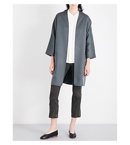 VINCE Reversible wool and cashmere-blend coat (Pine+heather