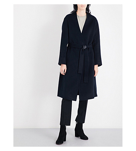 VINCE Self-tie wool and cashmere-blend coat (Coastal+heather
