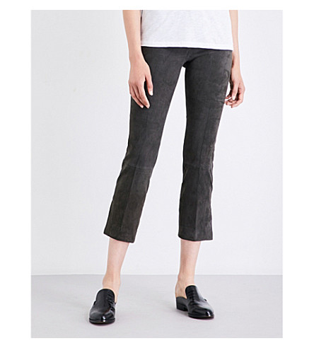 VINCE Flared suede trousers (Graphite