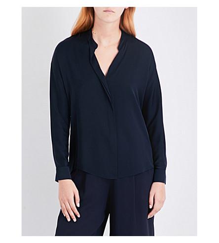VINCE Draped stretch-silk shirt (Coastal+blue
