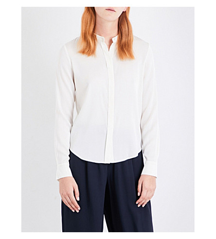 VINCE Band-collar stretch-silk shirt (Whip+cream