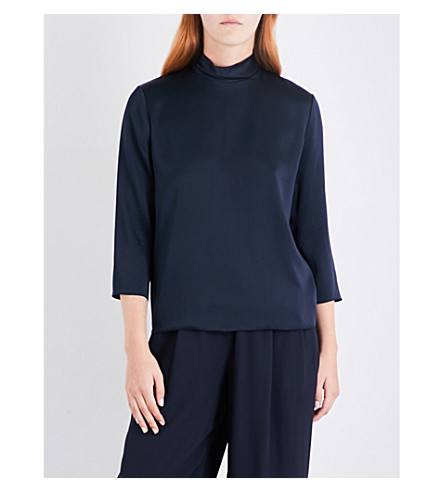 VINCE High-neck silk-satin top (Coastal+blue