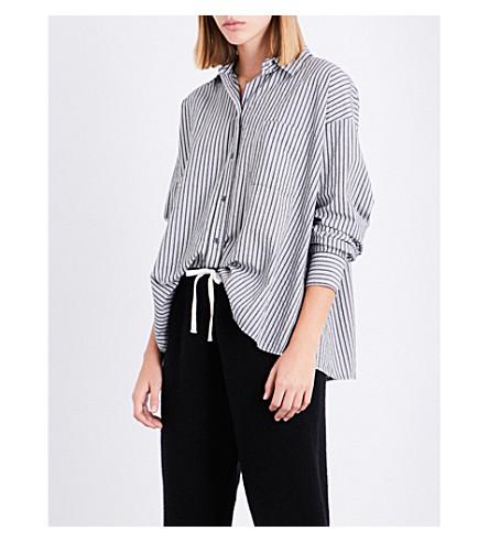 VINCE Striped cotton shirt (Black+grey+white