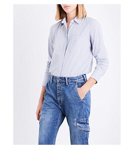 VINCE Striped cotton shirt (White+delft