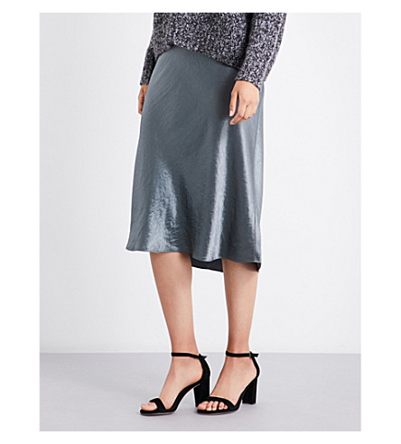 VINCE Flared satin skirt (Pine