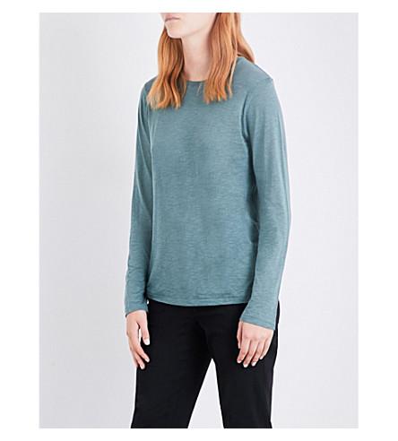 VINCE Dropped-shoulder cotton-jersey top (Sea+glass