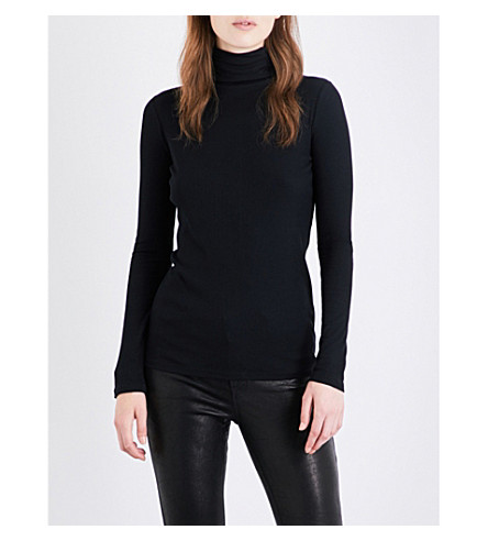 VINCE Turtleneck ribbed jersey top (Black