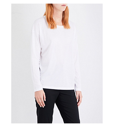 VINCE Dropped-shoulder cotton-jersey top (White