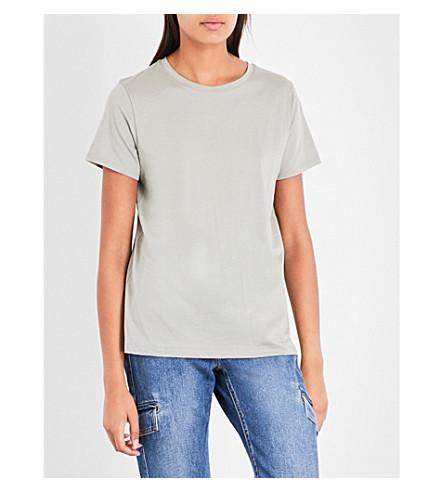 VINCE Round-neck cotton-jersey T-shirt (Moss