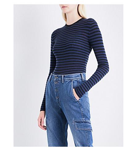 VINCE Striped cashmere top (H+carbon+ink