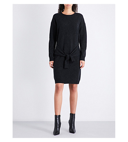 VINCE Self-tie wool and cashmere-blend jumper dress (H+carbon