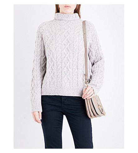 VINCE Turtleneck wool-blend cable-knit jumper (H+grey+off+white
