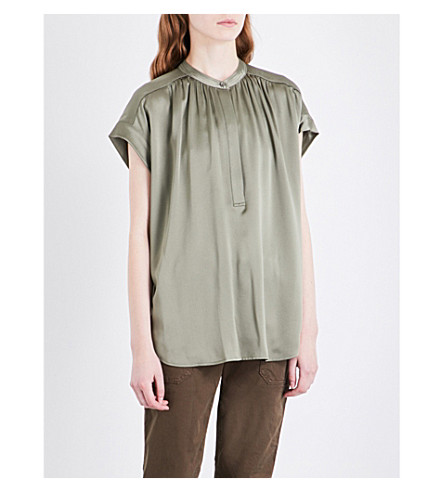 VINCE Pleated silk top (Desert+sage