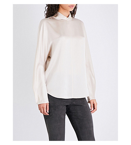 VINCE High-neck silk-satin top (Rose