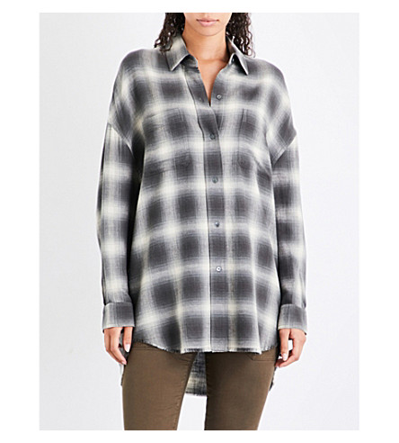 VINCE Checked cotton shirt (Grey