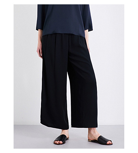 VINCE Wide-leg high-rise crepe trousers (Black