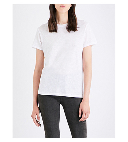VINCE Marl-effect cotton-jersey T-shirt (White
