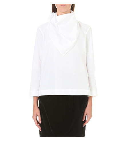 ISA ARFEN Ruched cotton-blend top (White