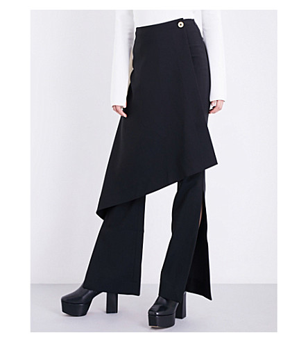 SOLACE LONDON Sydney skirt-panel flared crepe trousers (Black