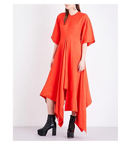 SOLACE LONDON Estee drill midi dress (Red