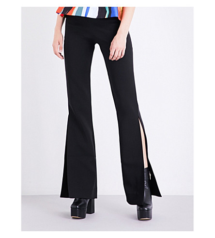 SOLACE LONDON Ray flared crepe trousers (Black