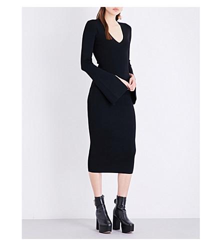 SOLACE LONDON Raina knitted midi dress (Black