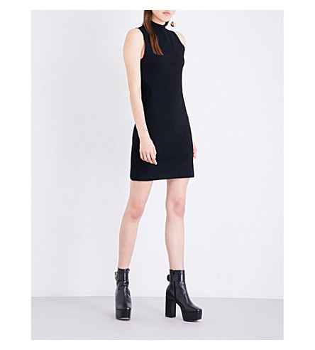SOLACE LONDON Rose stretch-knit mini dress (Black